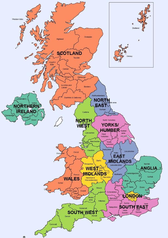 مساحة بريطانيا ومساحة الدول الرئيسية في المملكة المتحدة معلومات عن بريطانيا دليل بريطانيا